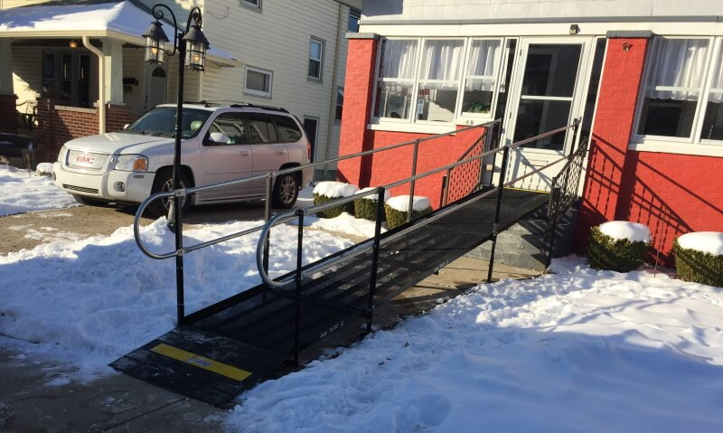 This wheelchair ramp was installed at an Indianapolis home by the Amramp Indiana team.