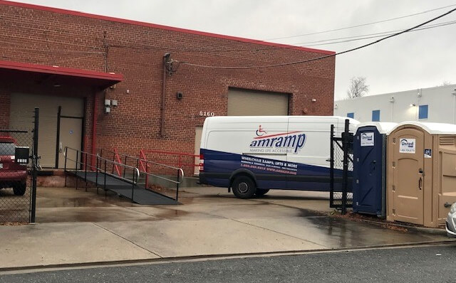 This ramp was installed by the Amramp Maryland/DC team for the Salvation Army Toy Distribution in Washington, DC.