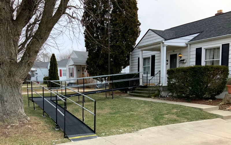 Amramp Huntington installed this modular wheelchair ramp at a home in Anderson, Indiana.