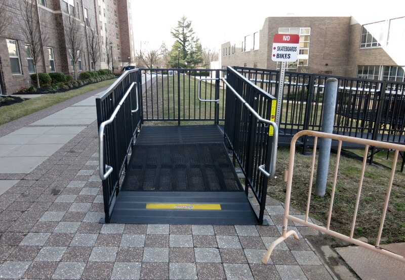 Our Amramp Philadelphia team installed this 125 ft. commercial PRO ramp at West Chester University of PA.