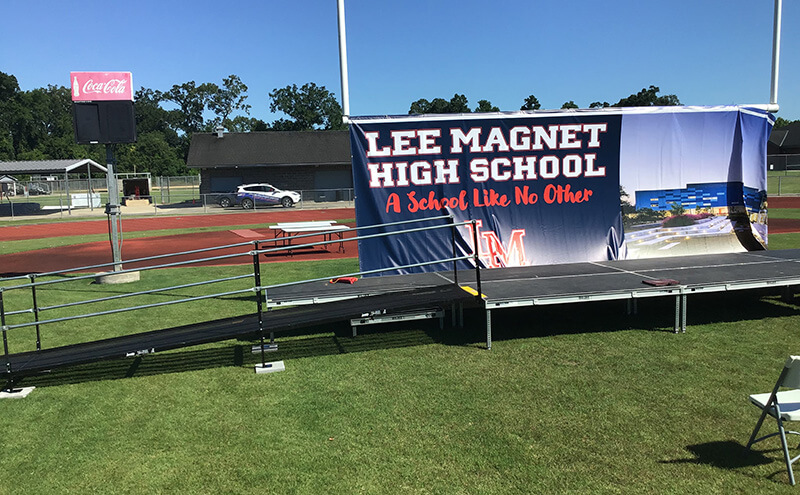 The Amramp Louisiana team installed this ramp at Lee Magnet High School's graduation.