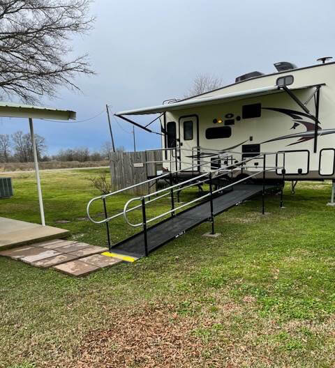 This wheelchair ramp was installed at a home in Rayville, LA.