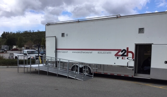 Amramp LA installed a commercial ramp to provide access to the new Health Screening Trailer Triage at Adventist Health Simi Valley.