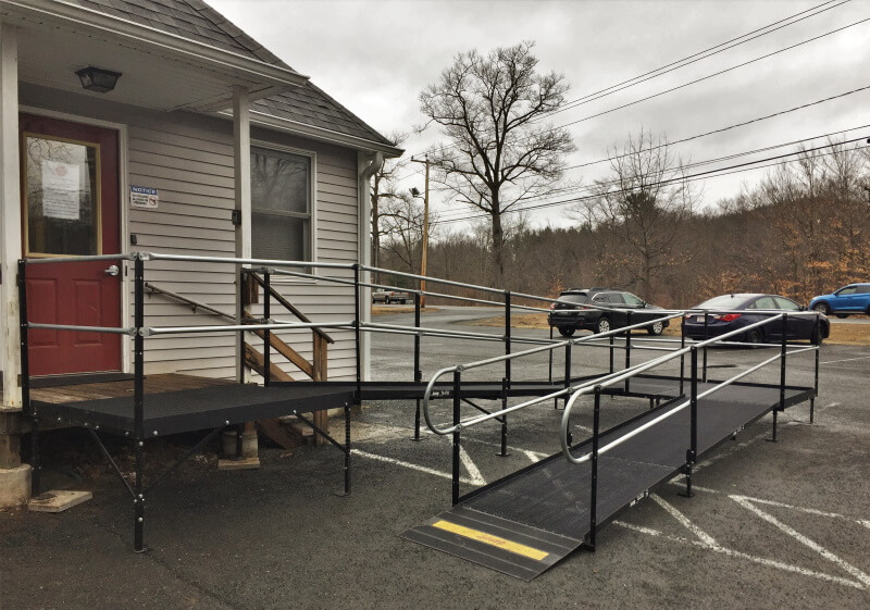 Amramp VT/Western MA installed a ramp for a COVID19 testing center at Hilltown Community Health Center in Huntington MA.
