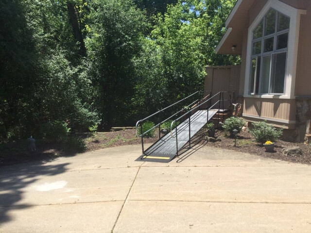 Barb McComb of Amramp Southeastern Wisconsin received a call from a couple in Lake Geneva, WI. They needed to get their mother up into their home safely. The Amramp team installed the ramp as soon as the homeowners approved the plan. The clients said that the new ramp looked great and it would make getting their mother in and out of the house much easier.