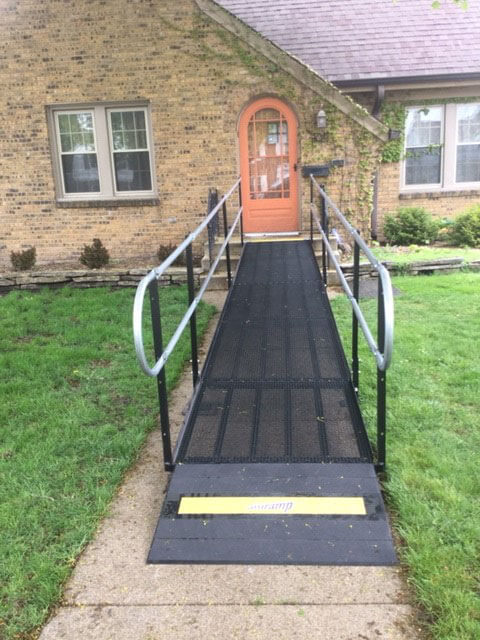 Amramp Southeastern Wisconsin received a call on Wednesday afternoon from a client in Racine Wisconsin. She needed a wheelchair ramp for her father who had broken his leg. She was thrilled when the ramp was installed Friday morning less than 48 hours later.