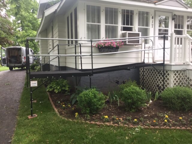 Amramp Southeastern Wisconsin was in Wild Rose, WI this morning installing this 43 foot wheelchair ramp while our client was in the hospital having surgery. The ramp is in place and ready for her to come home and recuperate comfortably. She will be able to get to appointments and therapies while recovering at home rather than alone in the hospital. Making life accessible in Southeastern Wisconsin.