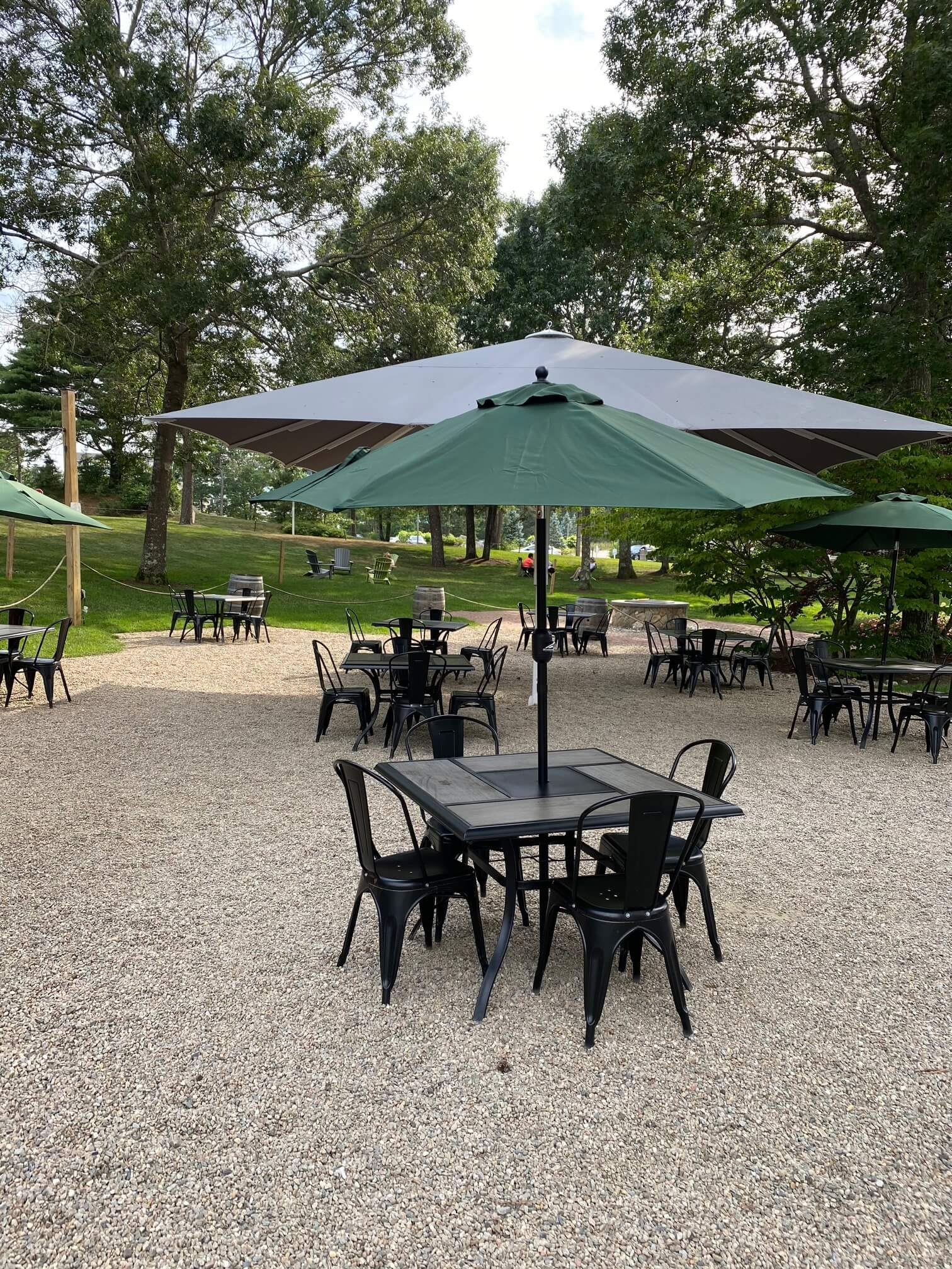 Outdoor seating tables and chairs.