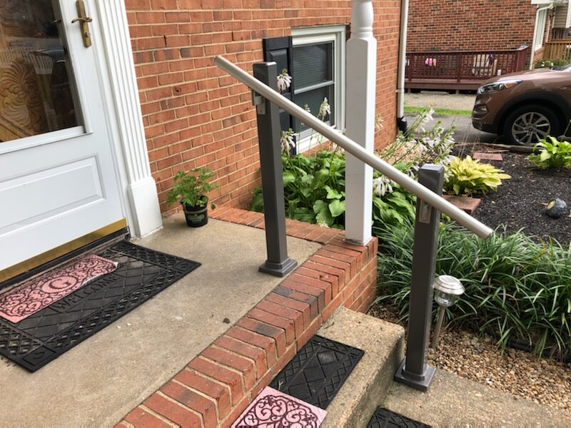 The Amramp team of Richmond installed exterior handrails at a residence in Chesterfield, Virginia, to provide stability moving up and down the two front steps.