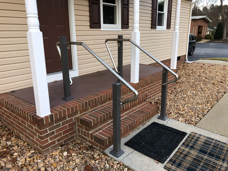 Amramp installed exterior handrails at an office building in Chester, Virginia.