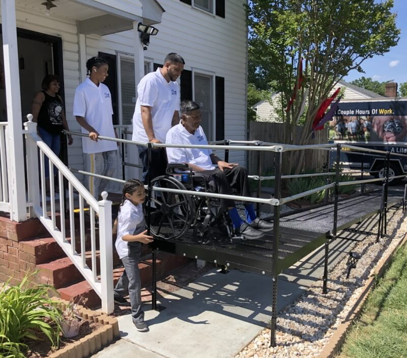 RampsRVA volunteers install this wheelchair ramp in Richmond, VA