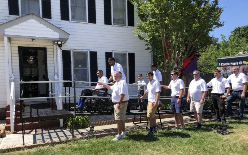 Volunteers from RampsRVA worked to install wheelchair ramp in Richmond, VA.