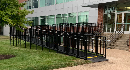 Amramp of Huntington, IN recently traveled to Indiana Tech University in Fort Wayne, IN in order to install one of Amramp's Pro commercially compliant ramps.